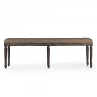bench rectangle carved wood oak limed gray charcoal copper linen tufted six legs