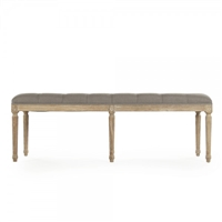 bench rectangle carved wood oak limed gray linen gray tufted six legs