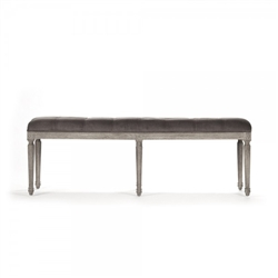 bench rectangle carved wood oak limed gray velvet brown tufted six legs