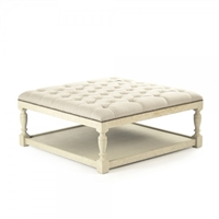 ottoman square natural linen wheat oak antiqued white shelf tufted