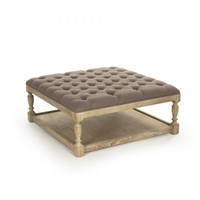 ottoman square natural oak limed turned legs shelf linen tufted