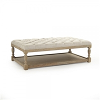ottoman rectangle natural linen tan oak antiqued tufted linen lower shelf turned legs