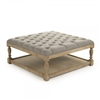 ottoman square natural oak limed turned legs shelf taupe linen tufted