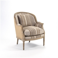 Stripe Club Chair - Roland - Hemp Back