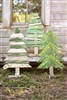 Set of 3 Recycled Wooden Christmas Trees w/Stand