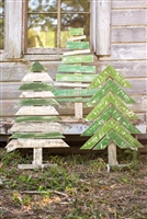 Recycled Wooden Christmas Trees & Stand Set (3) - Unique Holiday Décor