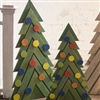 wood Christmas trees green colorful ornaments