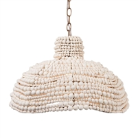 wooden bead chandelier ivory