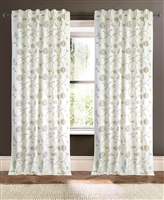 curtain panel drapery ivory linen/cotton embroidery flowers yellow light green