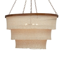 woven bead chandelier natural gold