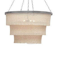woven bead chandelier natural silver