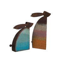 set of 2 colorful aqua orange rustic metal rabbits