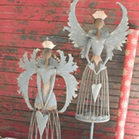silver rustic metal angels wings hearts votive candle holders