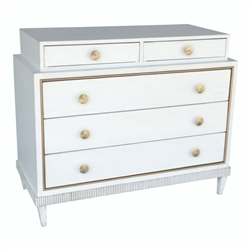 white wood gold accent three drawer chest