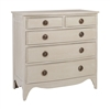 gray wood tarnished hardware five drawer chest