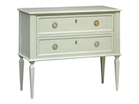 white wood two drawer chest brass hardware