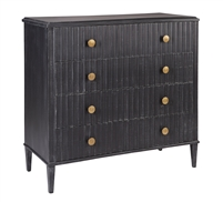 black wood gold accent four drawer chest