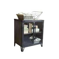 rustic two glass door metal cabinet