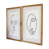set two black white face art prints frame wood glass