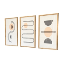 set three abstract art prints wood frame glass gray melon contemporary