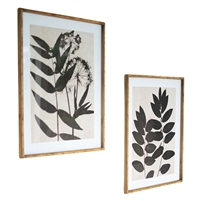 framed black leaf prints glass set of two