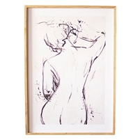 wall art nude woman back large light wood frame
