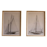 framed sailboat prints glass set of two