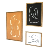 framed nude prints glass set of three