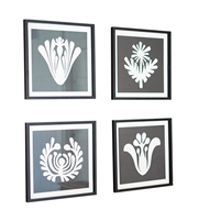4 square wall art black white graphic prints