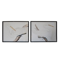 wall art set 2 white heron glass framed