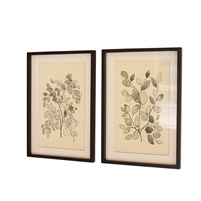 wall art black gray leaves glass framed set 2