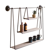 Kalalou wall shelves hanging three wood metal rustic casual sizes
