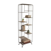 metal frame standing shelf unit staggered wood shelves