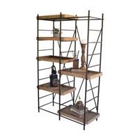 metal wood standing shelf unit tray-like shelves adjustable