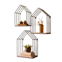 wood metal house shelves set of 3