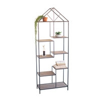 house-shaped shelf unit staggered metal wood