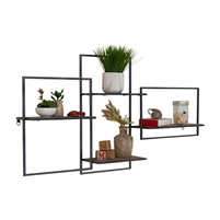 wall shelf unit multi-level wood metal transitional