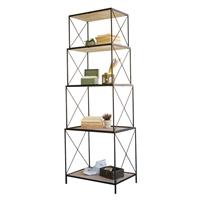 stackable four tiered metal wood shelving unit