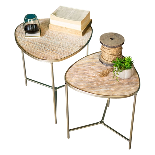 two nesting tables wood metal gold finish