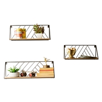 wood metal wall shelves set