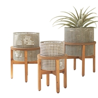 set 3 metal grid planters wood stands