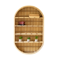 oval wall shelf unit rattan