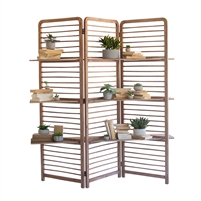 room divider wood slats shelves 3-sections
