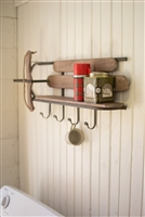 Rustic Wood & Iron Sleigh Shelf with Hooks - Unique Christmas Decor