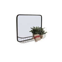 wall mirror with wire basket