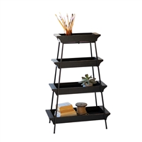 display storage tower iron wood trays 4-tier