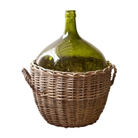 green demijohn bottle wicker case basket wine bottle