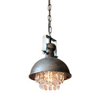 Luxury Designer Metal Hanging Lamp with Hanging Crystals by Kalalou
