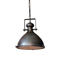 pendant large industrial gray rustic glass light round