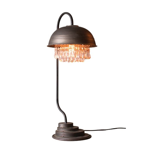 Metal Dome Table Lamp W Gems Detail
